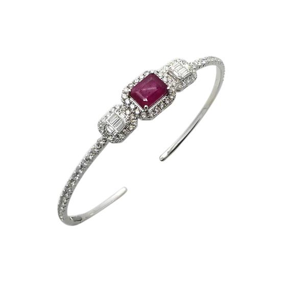 Bangle With Diamond and Ruby in 18K White Gold