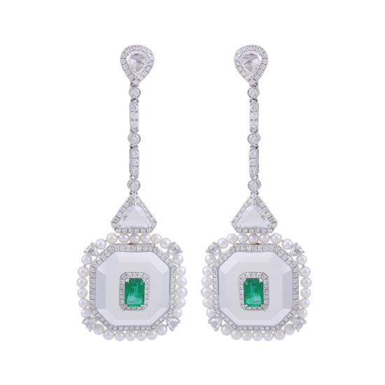 Earring With Diamond,Emerald,Agate and Pearl in 18K White Gold