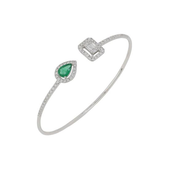 Bangle With Diamond and Emerald in 18K White Gold