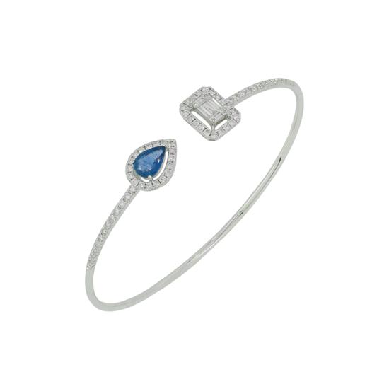 Bangle With Diamond and Blue Sapphire in 18K White Gold