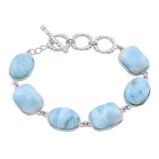 Larimar Adjustable Size Toggle Bracelet, Sterling Silver
