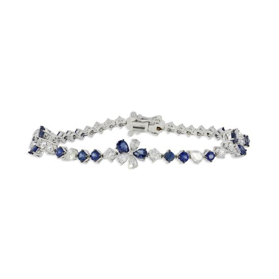 Bracelet With Diamond and Blue Sapphire in 18K White Gold