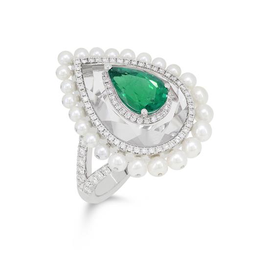 Ring With Diamond,Emerald,Crystal and Pearl in 18K White Gold