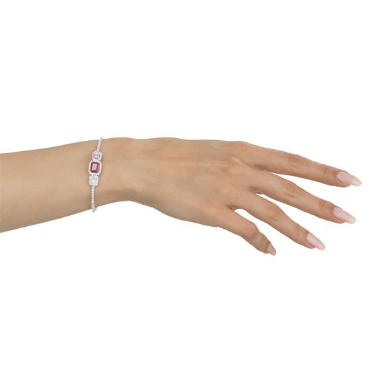 Bangle With Ruby And Diamond In 18K White Gold