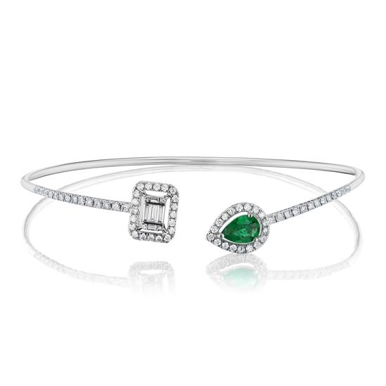 Bangle With Emerald And Diamond In 18K White Gold