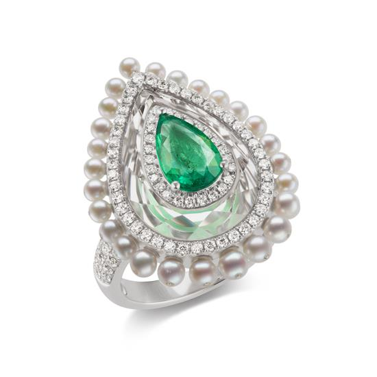 Ring With Emerald,Crystal,Pearl And Diamond In 18K White Gold