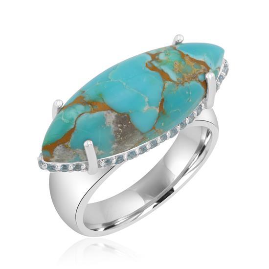 Sterling Silver Bold Marquise Cabochon Gemstone High Polish Ring