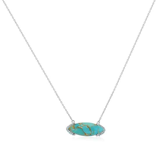 Sterling Silver Bold Marquise Gemstone Bar Pendant Necklace