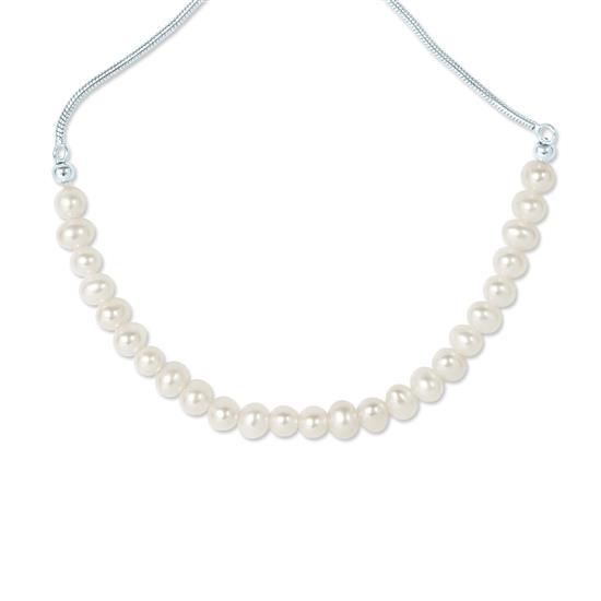 White Cultured Freshwater Pearl Adjustable Slider Bracelet in 925 Sterling Silver