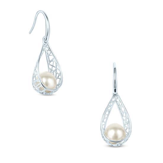 White Cultured Freshwater Pearl Drop Earrings in 925 Sterling Silver