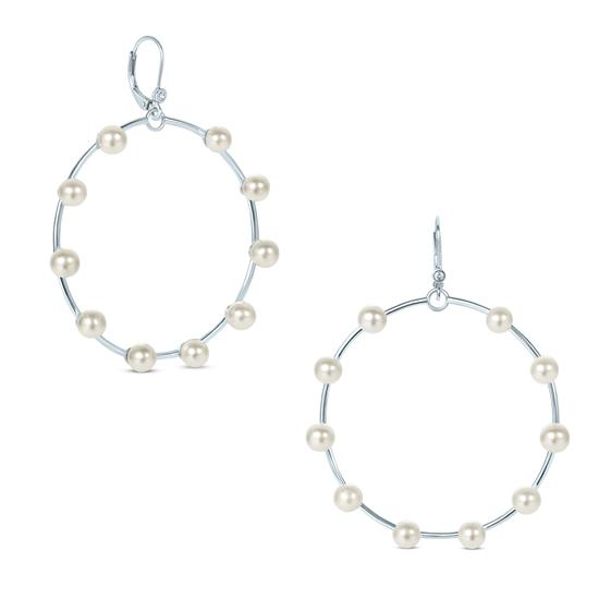 White Cultured Freshwater Pearl Hoop Drop Earrings in 925 Sterling Silver