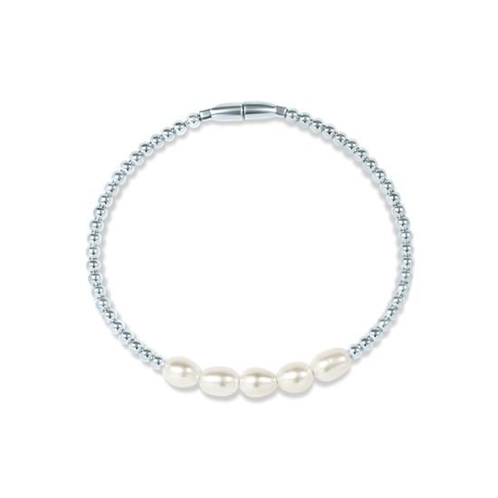 White Cultured Freshwater Oval Pearl Magnetic Bracelet in 925 Sterling Silver
