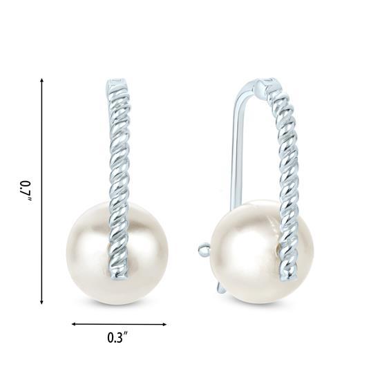White Cultured freshwater Pearl Stud Earrings in 925 Sterling Silver