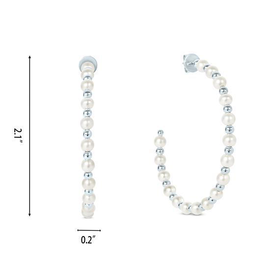 White Cultured Freshwater Pearl Hoop Earrings in 925 Sterling Silver