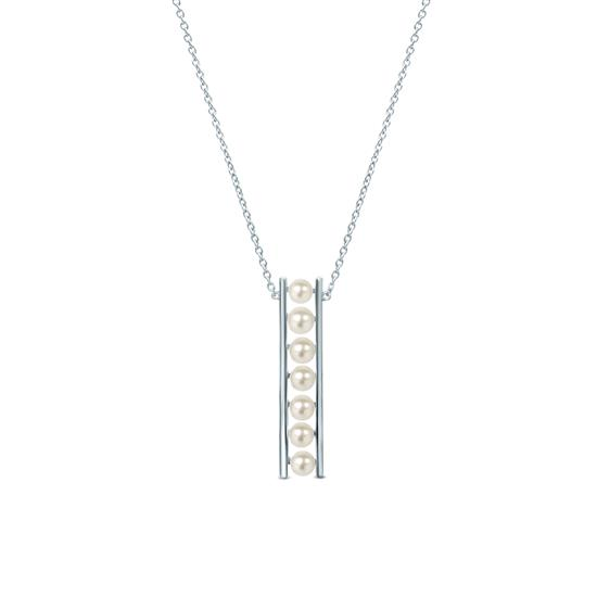 White Cultured Freshwater Pearl Bar Pendant Necklace in 925 Sterling Silver