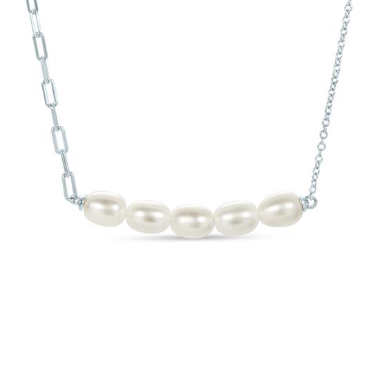 White Cultured Freshwater Pearl Curve Pendant Necklace in 925 Sterling Silver