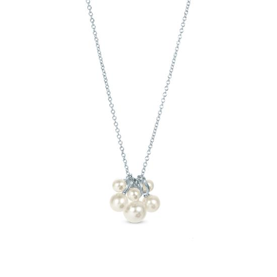 White Cultured Freshwater Pearl Cluster Pendant Necklace in 925 Sterling Silver