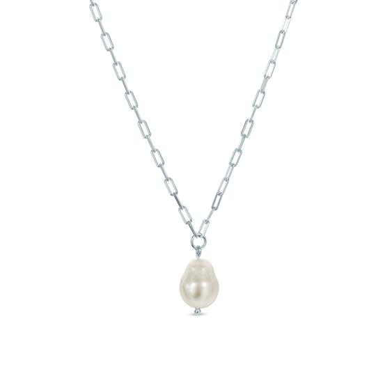 White Cultured Freshwater Baroque Pearl Solitaire Pendant Necklace in 925 Sterling Silver