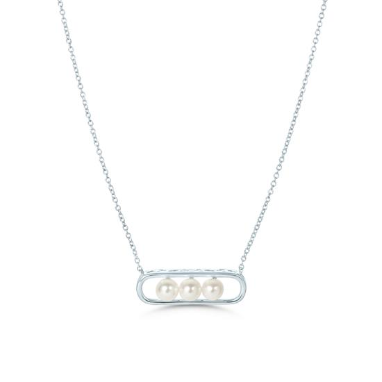 White Cultured Freshwater Pearl Pendant Necklace in 925 Sterling Silver
