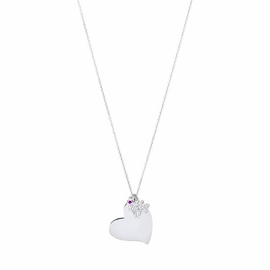 Personalized Heart Paw Necklace with White CZ and Simulated Ruby