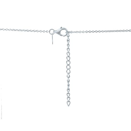 White Cultured Freshwater Pearl Station Necklace in 925 Sterling Silver