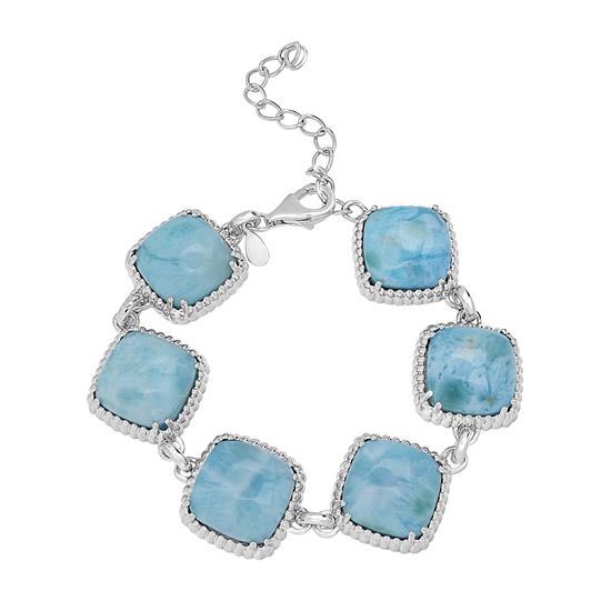"""Sterling Silver Larimar Gemstone Station Adjustable Bracelet 6""""-8"""""""