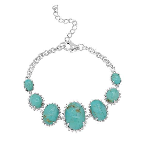 """Sterling Silver Kingman Turquoise Gemstone Station Adjustable Bracelet 6""""-8"""""""