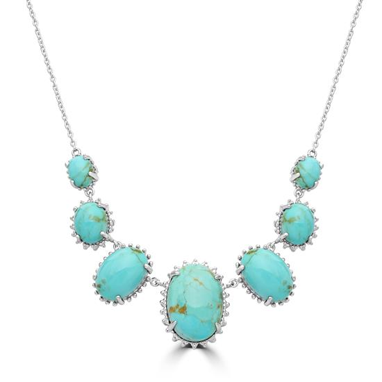 "Sterling Silver Kingman Turquoise Gemstone  Adjustable Frontal Necklace 16""-19"""