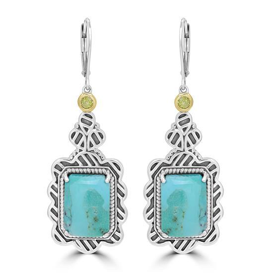 "Sterling Silver Kingman Turquoise and Peridot Gemstone Dangle Earrings (L=2"" W=3/4"")"