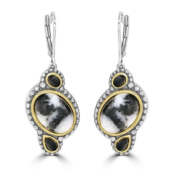 """Two-Tone White Buffalo And Black Spinel Gemstone Dangle Earrings, 14KT Gold Plating Over Sterling Silver (L=1 3/4"""" W=5/8"""")"""