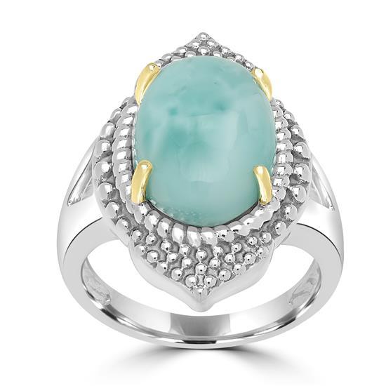 Sterling Silver Larimar Gemstone Center Design Ring
