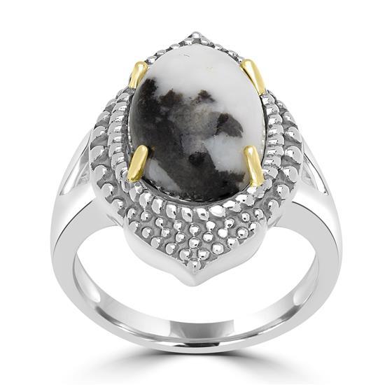 Sterling Silver White Buffalo Gemstone Center Design Ring