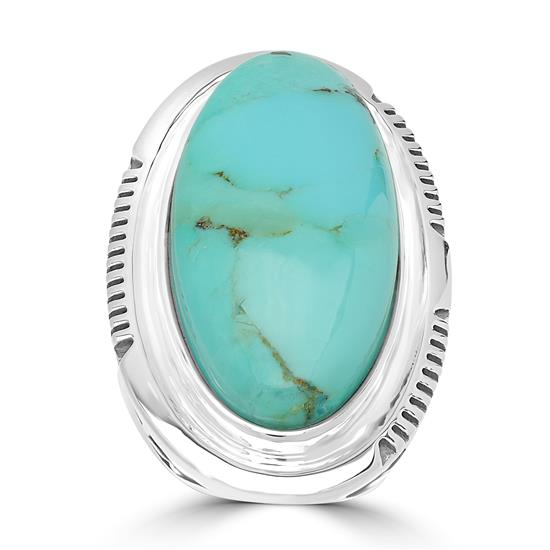Sterling Silver Kingman Turquoise Gemstone North South Ring