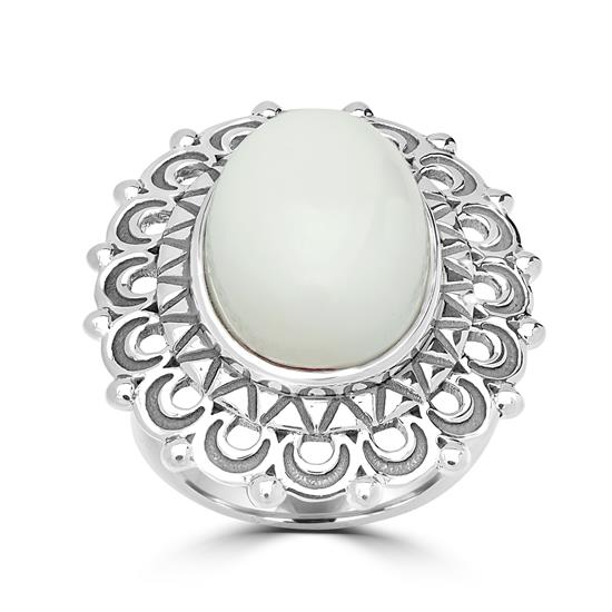 Sterling Silver White Pristine Gemstone Center Design Ring