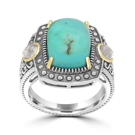 Two-Tone Kingman Turquoise And Rainbow Moonstone Center Design Ring, 14KT Gold Plating Over Sterling Silver
